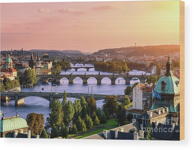 Old Town Wood Print featuring the photograph Prague, Over View Of City And River by Sylvain Sonnet