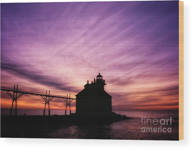 Door County Wood Print featuring the photograph Purple Sunrise in Door County by Ever-Curious Photography