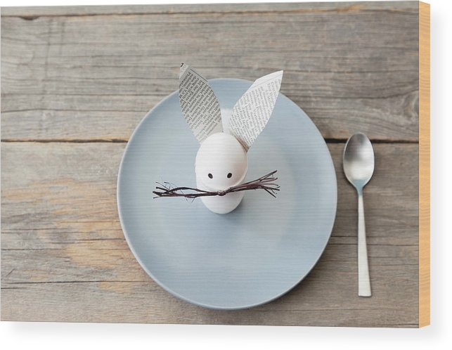 Holiday Wood Print featuring the photograph Rabbit Decoration On Plate by Stefanie Grewel