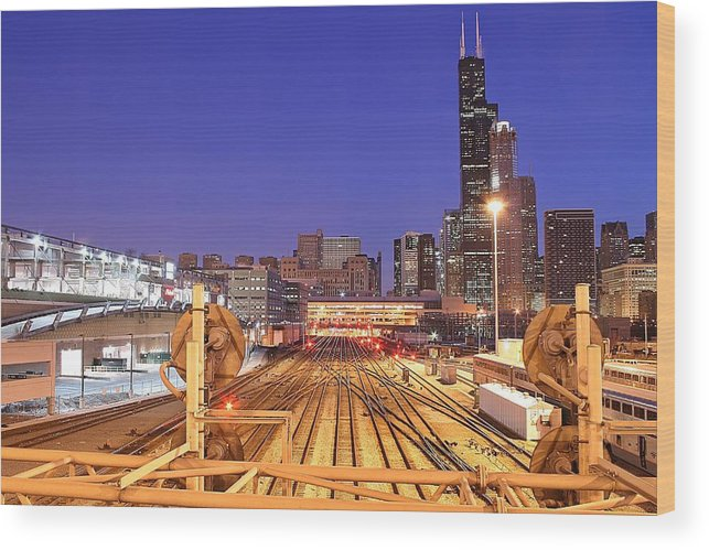 Railroad Track Wood Print featuring the photograph Rail Tracks by Joseph Balynas