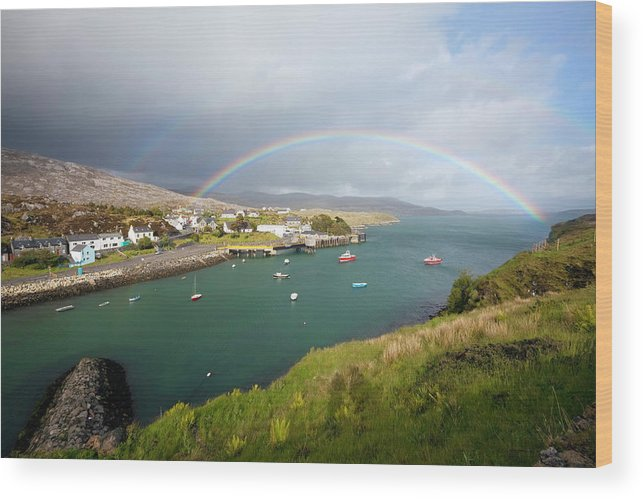 Scenics Wood Print featuring the photograph Rainbow In The Outer Hebrides Tarbert by Nicolamargaret