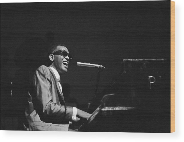 Ray Charles - Musician Wood Print featuring the photograph Ray Charles Behind The Scence At The by Reporters Associes