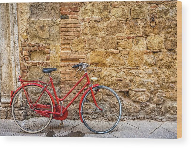 Stained Wood Print featuring the photograph Red Bicycle by Deimagine