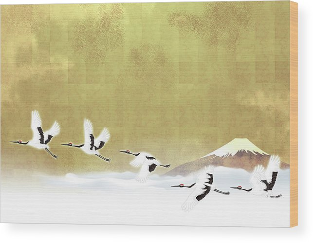 Chinese Culture Wood Print featuring the digital art Red-crowned Cranes In Flight Against by Imagewerks