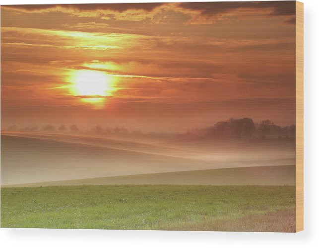 Tranquility Wood Print featuring the photograph Ripples In Mist by Andy Freer