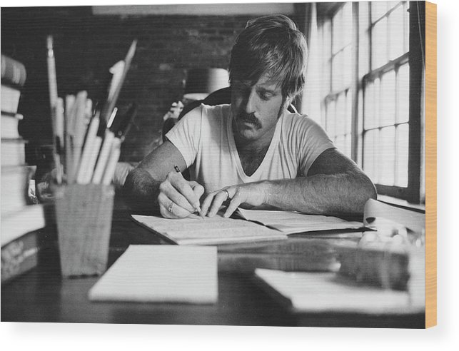 Timeincown Wood Print featuring the photograph Robert Redford Writing At Desk by John Dominis