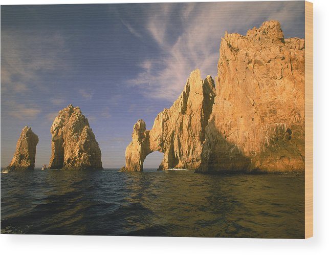 Scenics Wood Print featuring the photograph Rock Formations, Cabo San Lucas, Mexico by Walter Bibikow