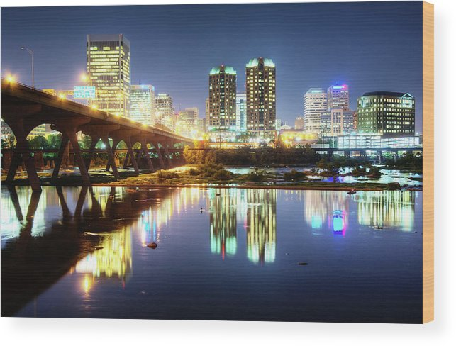 Tranquility Wood Print featuring the photograph Rva Summer Night - Richmond Va On The by Sky Noir Photography By Bill Dickinson