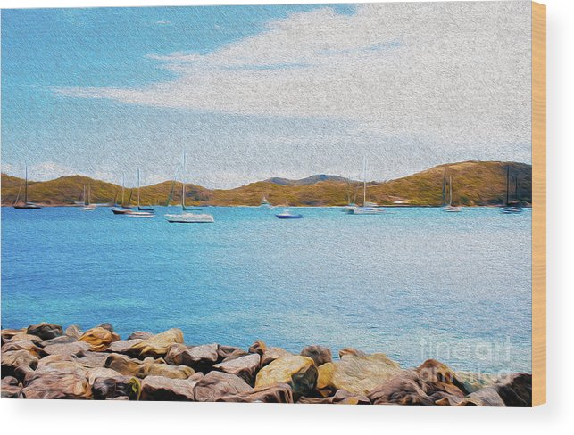 Eastern Caribbean Wood Print featuring the digital art Sailboat Adventure in San Juan Puerto Rico by Kenneth Montgomery