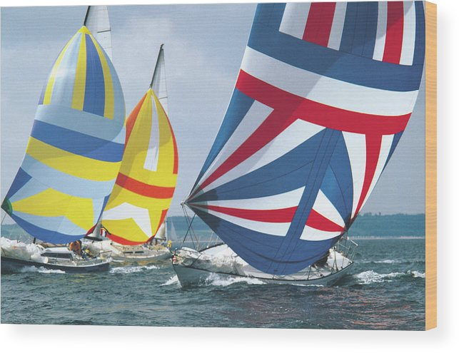 Wind Wood Print featuring the photograph Sailing Race by John Foxx