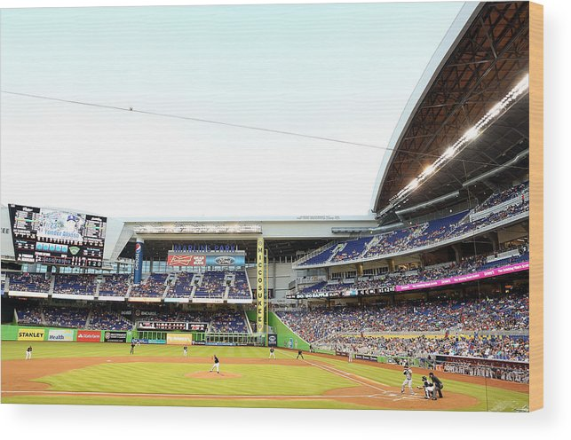 American League Baseball Wood Print featuring the photograph San Diego Padres V Miami Marlins by Marc Serota