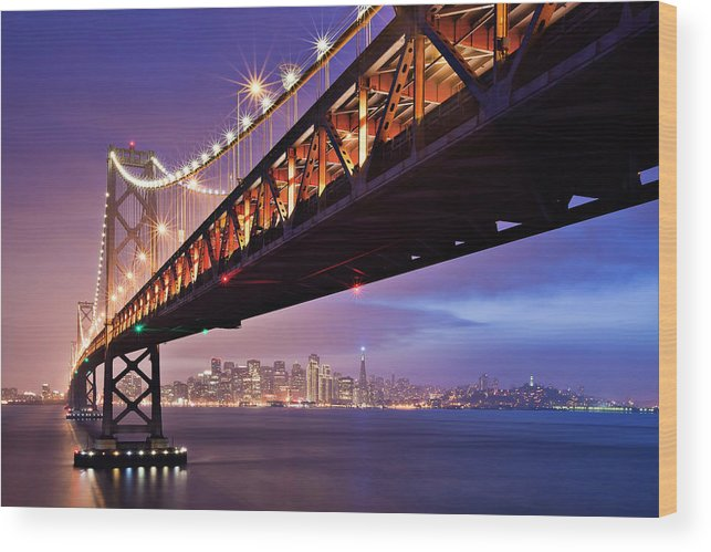 Tranquility Wood Print featuring the photograph San Francisco Bay Bridge by Photo By Mike Shaw