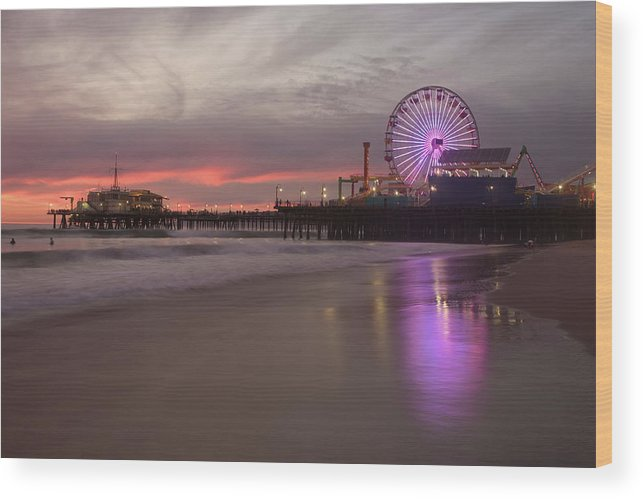 California Wood Print featuring the photograph Santa Monica Pier by Skyhobo