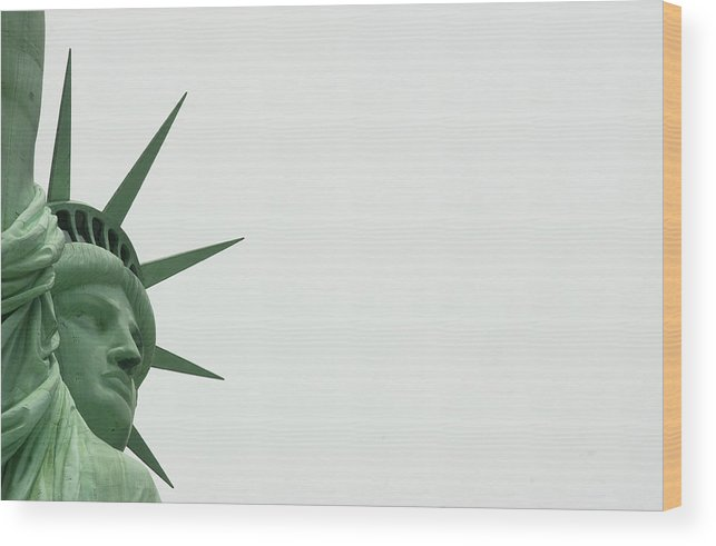 Security Wood Print featuring the photograph Security At The Statue Of Liberty Ferry by New York Daily News Archive