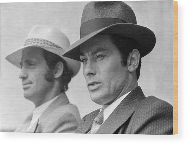 Alain Delon Wood Print featuring the photograph Set Of The Movie Borsalino by Jean-pierre Bonnotte