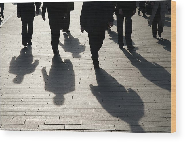 Shadow Wood Print featuring the photograph Shadow Team Of Commuters Walking On by Peskymonkey