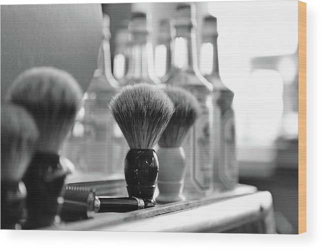 Office Wood Print featuring the photograph Shaving Brushes At Barbershop by Lorado
