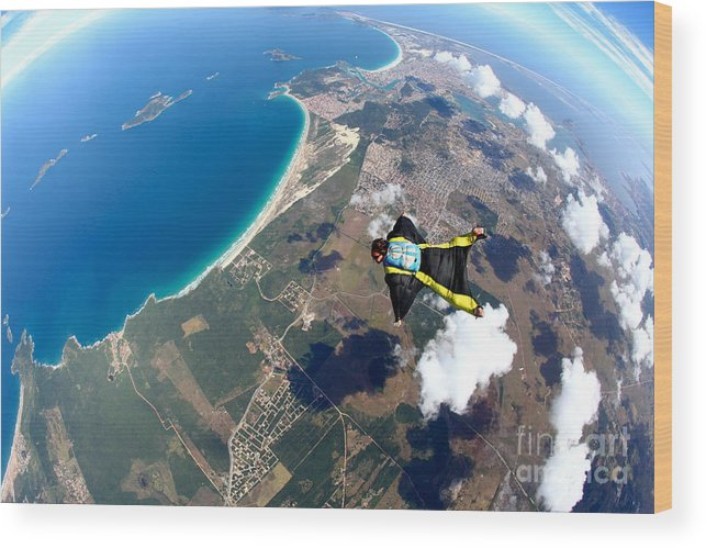 Altitude Wood Print featuring the photograph Skydive Wing Suit Over Brazilian Beach by Rick Neves