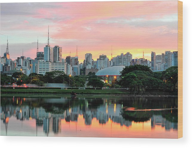 Tranquility Wood Print featuring the photograph Skyline With Reflections On Lake At by © Wagner Garcia Photography