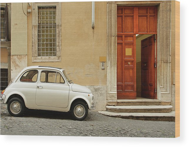 Steps Wood Print featuring the photograph Small Coupe Parked Near A Doorway On A by S. Greg Panosian