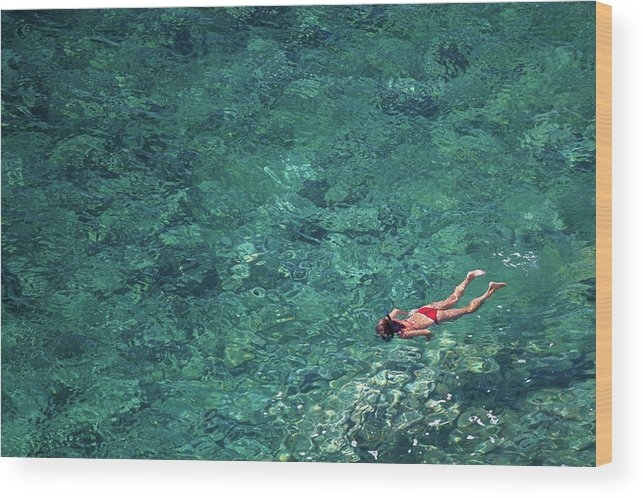 Recreational Pursuit Wood Print featuring the photograph Snorkeling In The Mediterranean Sea by Photovideostock
