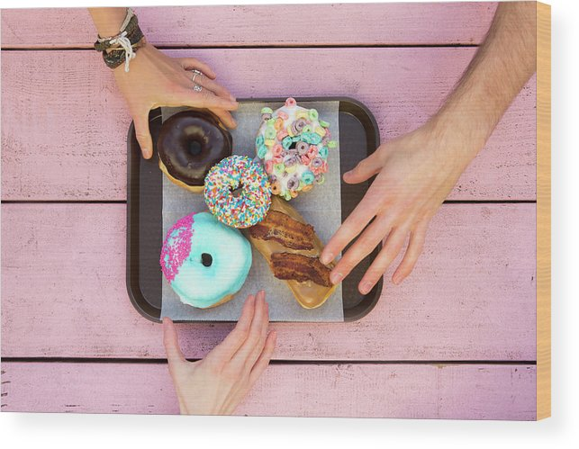 Young Men Wood Print featuring the photograph Specialty Doughnuts On A Tray by Jordan Siemens