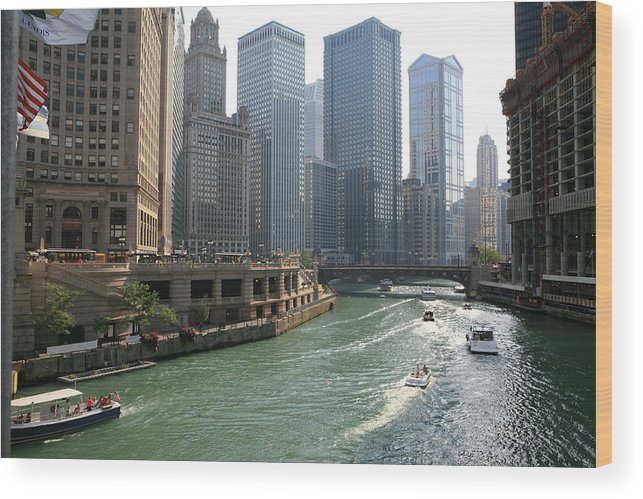 Downtown District Wood Print featuring the photograph Spectacular Chicago Downtown by Ekash