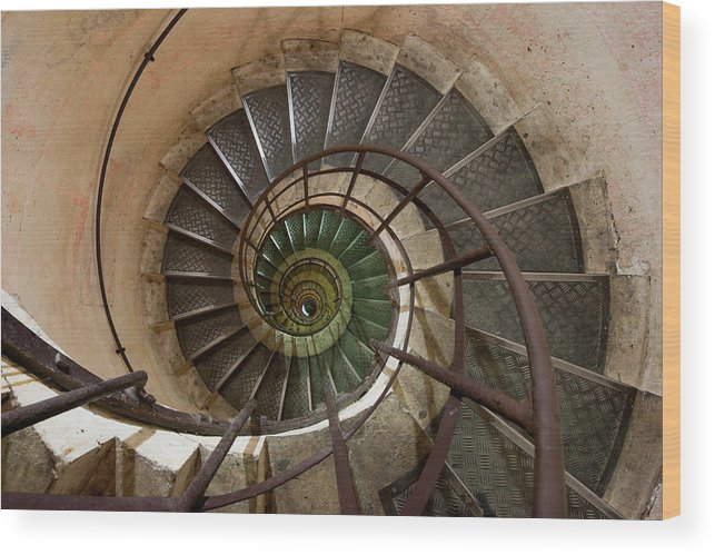Built Structure Wood Print featuring the photograph Spiral Staircase In The Arc De by Mint Images/ Art Wolfe