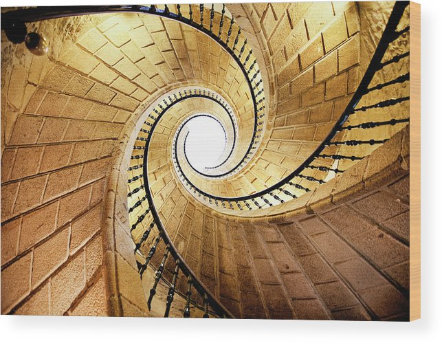 Steps Wood Print featuring the photograph Spiral Staircase by Orbon Alija