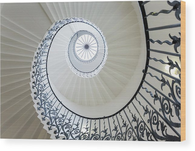 Queen's House Wood Print featuring the photograph Spiral Staircase, The Queens House by Peter Adams