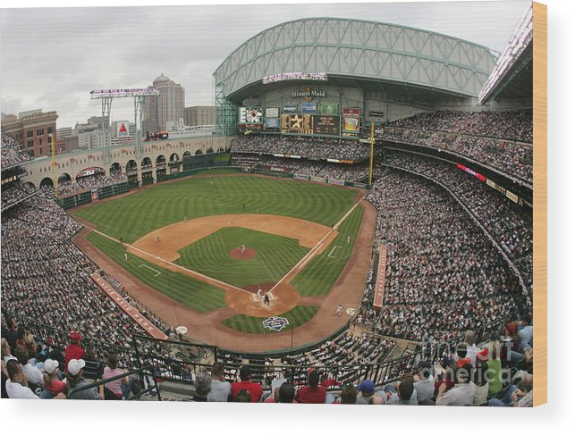Minute Maid Park Wood Print featuring the photograph St. Louis Cardinals V Houston Astros by Ronald Martinez