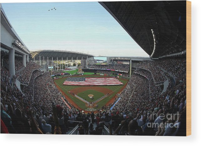 Viewpoint Wood Print featuring the photograph St Louis Cardinals V Miami Marlins by Sarah Crabill