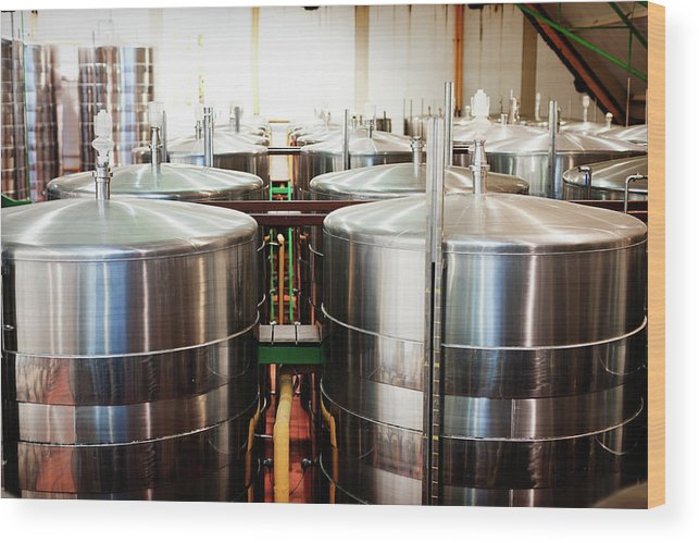 Working Wood Print featuring the photograph Stainless Steel Holding Tanks In A by Rapideye