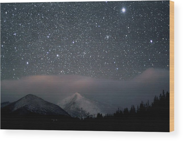 Constellation Wood Print featuring the photograph Stars Over Rocky Mountain National Park by Pat Gaines