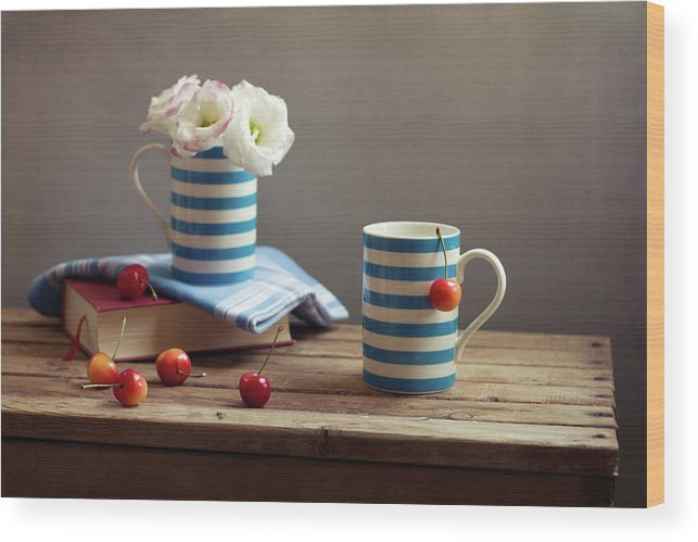 Cherry Wood Print featuring the photograph Still Life With Striped Cups by Copyright Anna Nemoy(xaomena)
