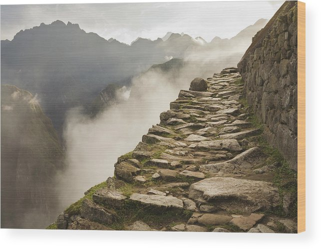 Machu Picchu Wood Print featuring the photograph Stone Inca Trail by David Madison
