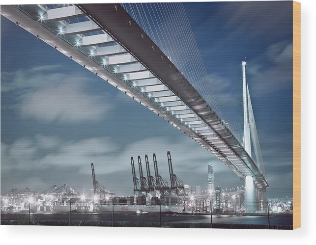 Built Structure Wood Print featuring the photograph Stonecutters And Container Terminal by Andi Andreas