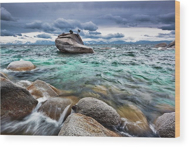 Outdoors Wood Print featuring the photograph Storm, Lake Tahoe by Ropelato Photography; Earthscapes