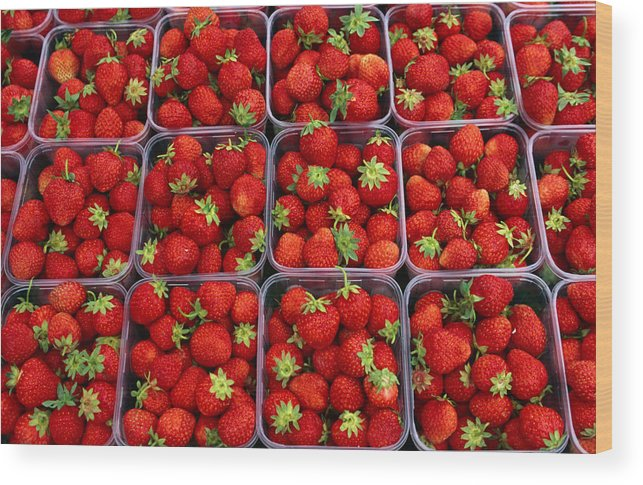 Fruit Carton Wood Print featuring the photograph Strawberries For Sale, Bergen, Norway by Anders Blomqvist