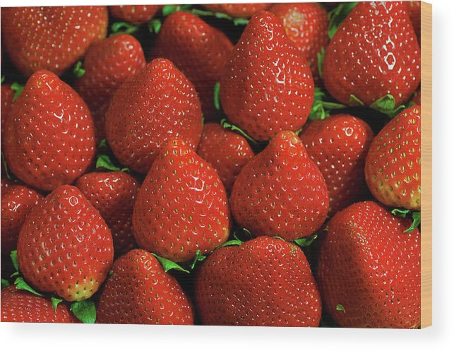 Large Group Of Objects Wood Print featuring the photograph Strawberry Cliche by By Ken Ilio