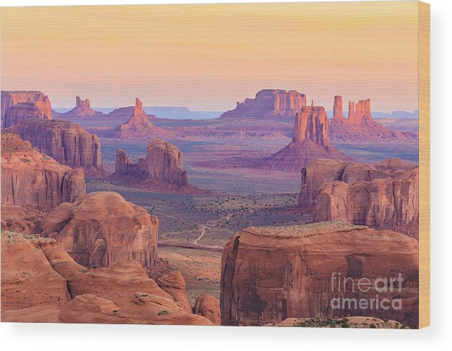 Southwest Wood Print featuring the photograph Sunrise In Hunts Mesa Monument Valley by Elena suvorova