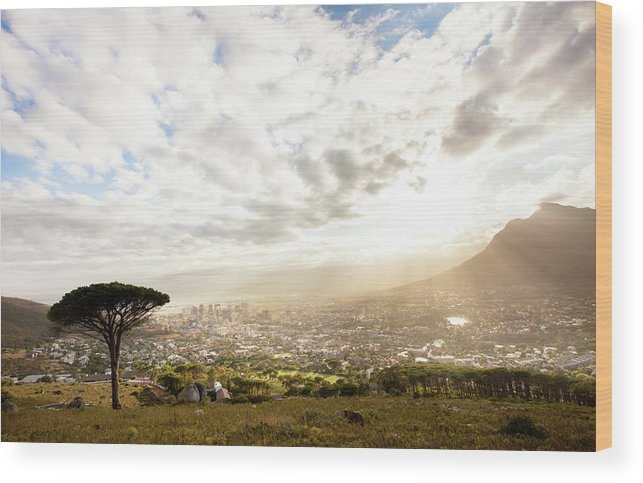 Scenics Wood Print featuring the photograph Sunrise Over Cape Town South Africa by Epicurean