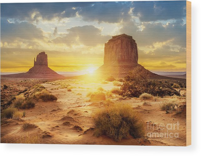 Southwest Wood Print featuring the photograph Sunset At The Sisters In Monument by Ventdusud
