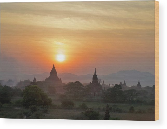 Tranquility Wood Print featuring the photograph Sunset From Atop The Shwesandaw Paya by Jim Simmen