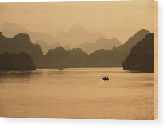 Halong Bay Wood Print featuring the photograph Sunset, Halong Bay, Vietnam by Yellow Dog Productions