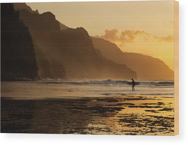 Tranquility Wood Print featuring the photograph Surfer On Beach And Na Pali Coast Seen by Enrique R. Aguirre Aves