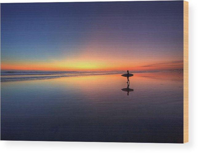 Surfer Walking On Rainbow Wood Print By Eric Lo