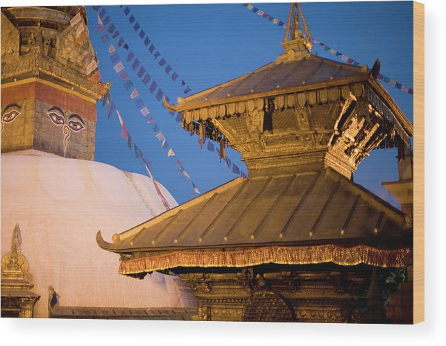 People Wood Print featuring the photograph Swambutayah - The Monkey Temple by Caval
