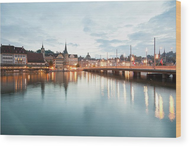 Dawn Wood Print featuring the photograph Switzerland, Lucerne, View Of by Westend61