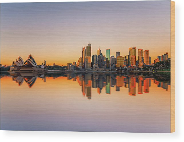 Tranquility Wood Print featuring the photograph Sydney Opera House And Skyline by The Trinity